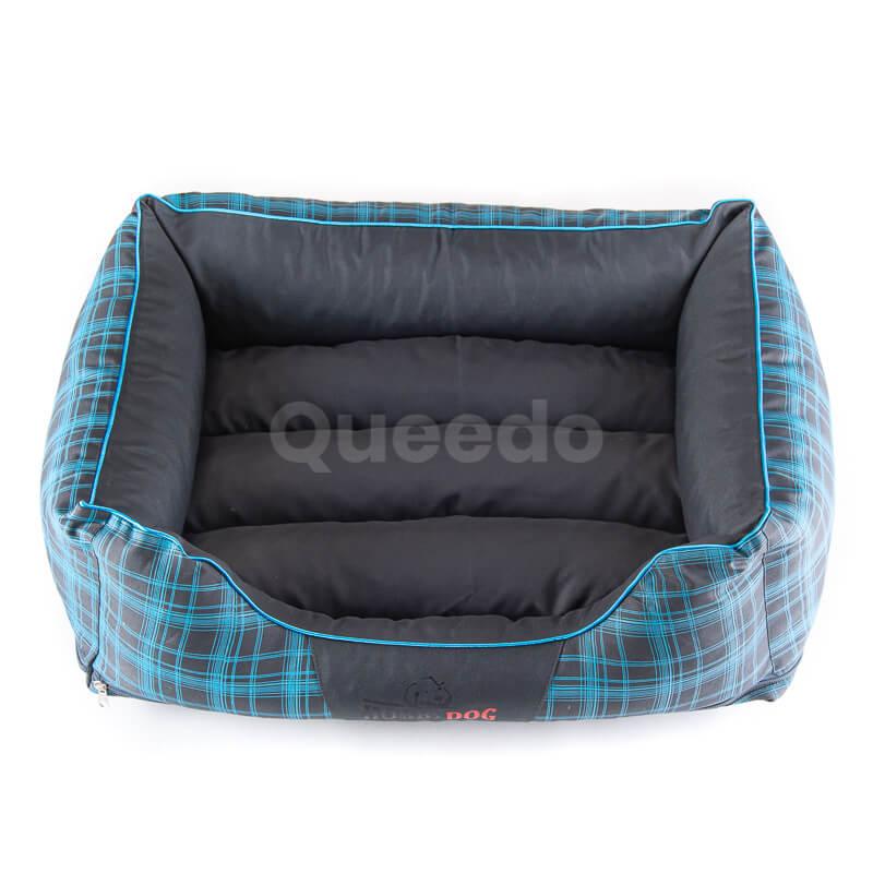 Kvalitná posteľ pre psa Prestige grafitová modré mriežky
