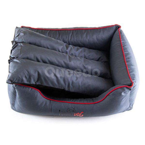Pohodlná posteľ pre psa Comfort šedá červené lemo
