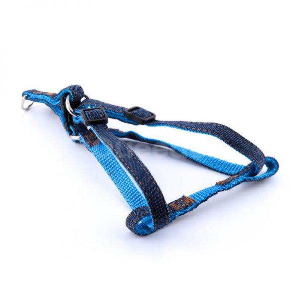 Pevný postroj pre psa denim modrý
