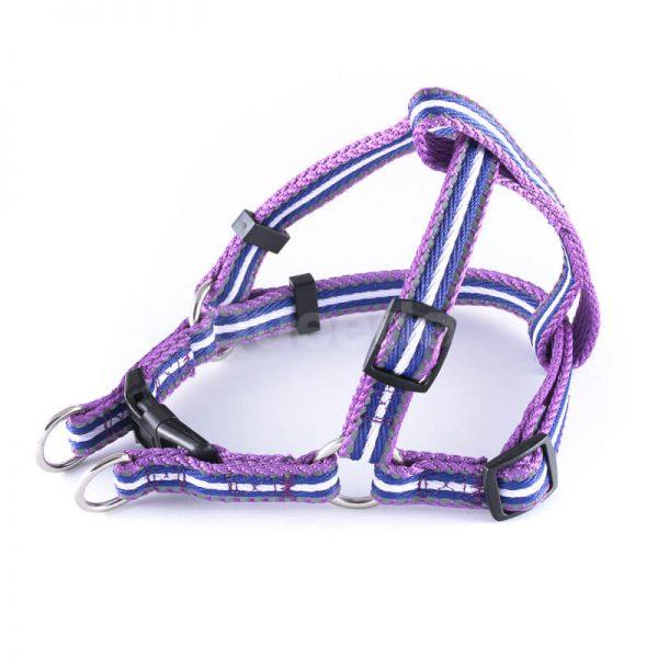 Krásny postroj pre psa pásik reflex fialovej farby