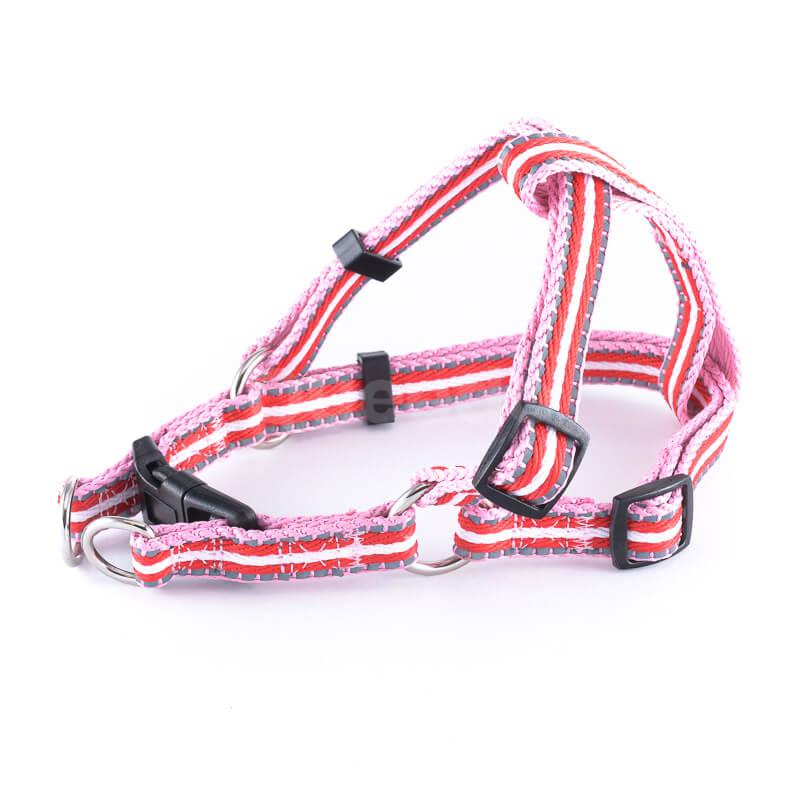 Odolný postroj pre psa pásik reflex ružovo červený