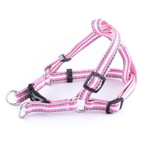 Elegantný postroj pre psa pásik reflex ružový