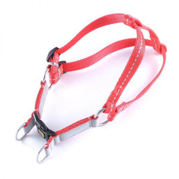 Praktický a odolný postroj pre psa reflex červený