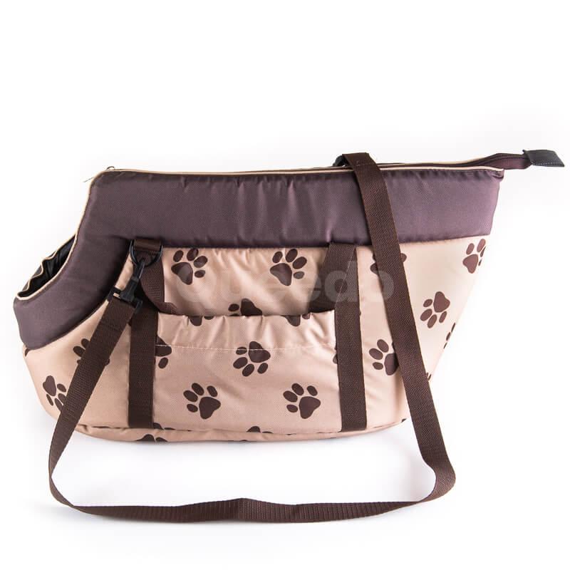 Kvalitná a pevná prepravná taška pre psa labky béžová