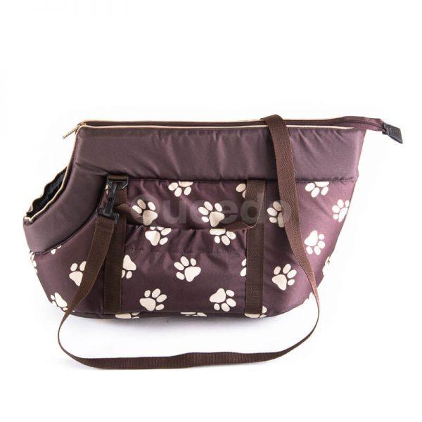 Elegantná prepravná taška pre psa labky hnedá