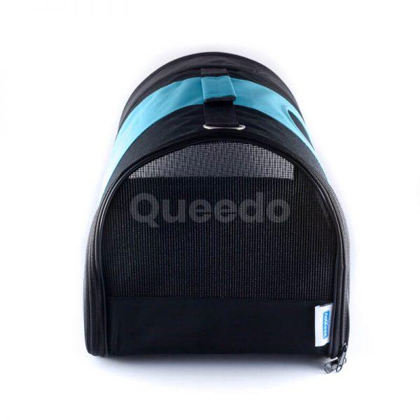 Praktický prepravný box pre psa modro čierny