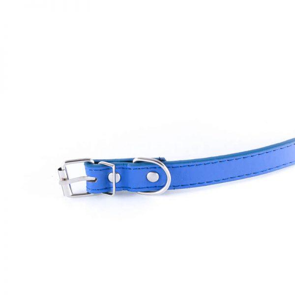 Elegantný kožený obojok pre psa basic modrej farby