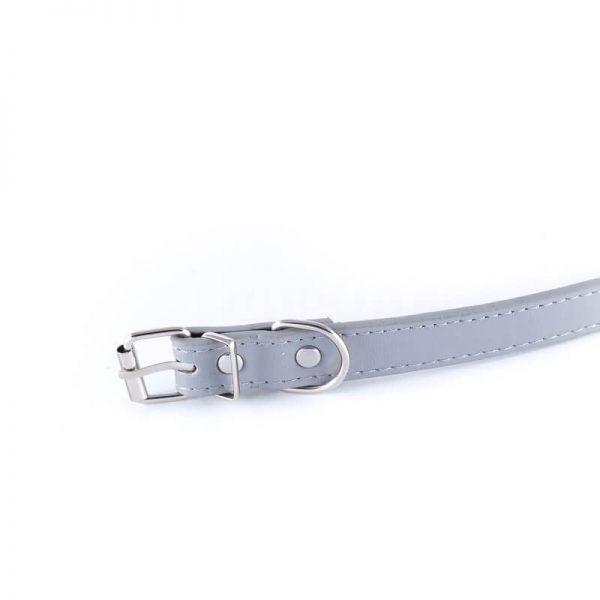 Elegantný šedý obojok pre psa basic z eko kože