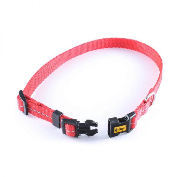 Odolný psí obojok reflex červenej farby