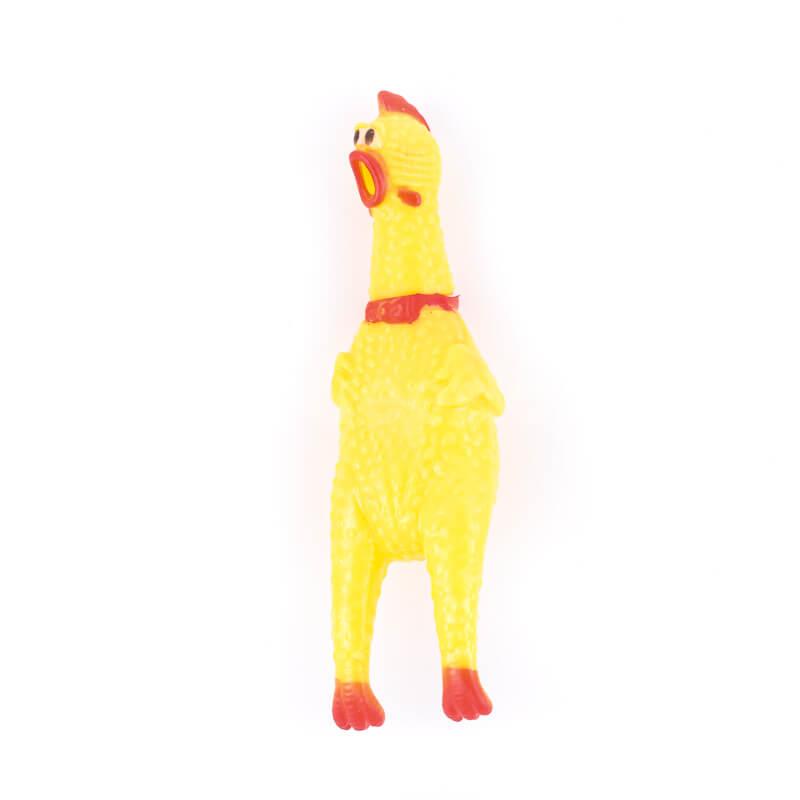 Zábavná psia hračka sliepka žltá malá