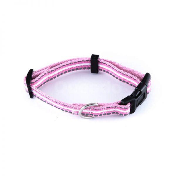 Nádherný reflexný obojok pre psa pásik reflex ružový