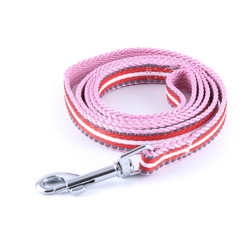 Kvalitné vodítko pre psa pásik reflex ružovo červené