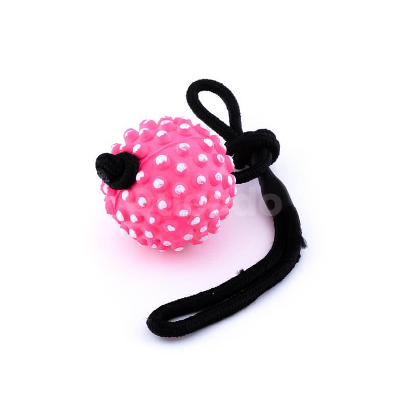 Odolná psia hračka lano lopta pichliače ružová