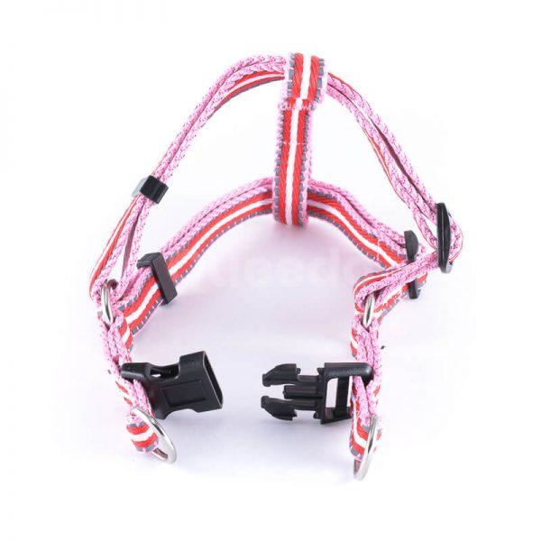 Kvalitný postroj pre psa pásik reflex ružovo červený