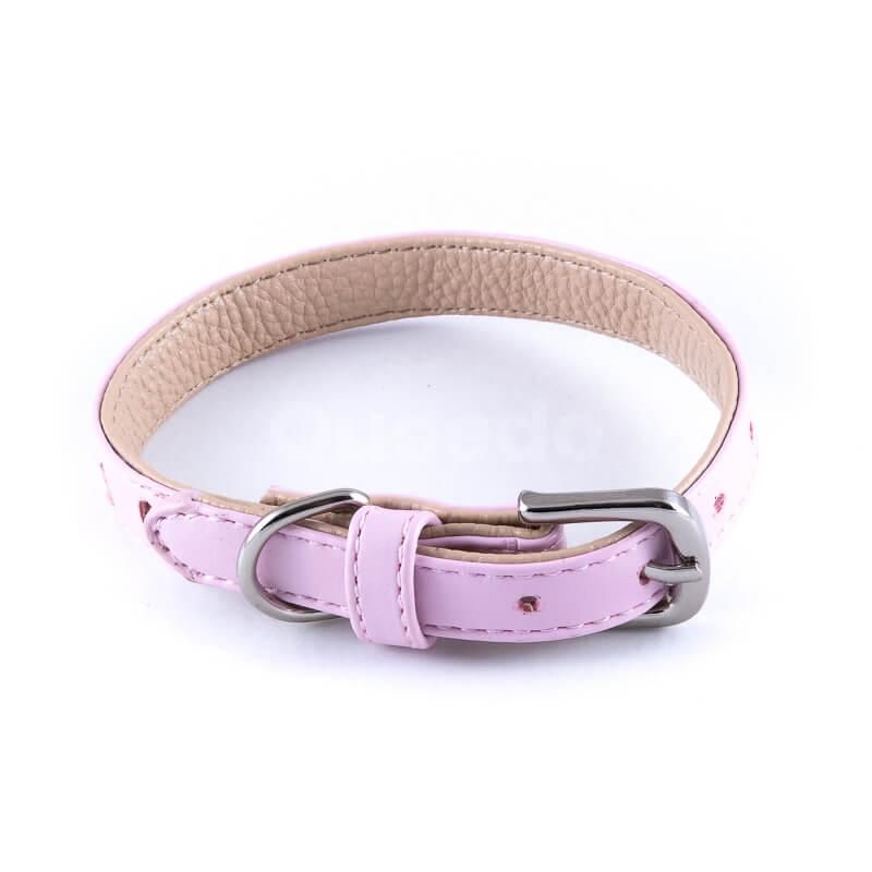 Krásny ružový kožený psí obojok výrez