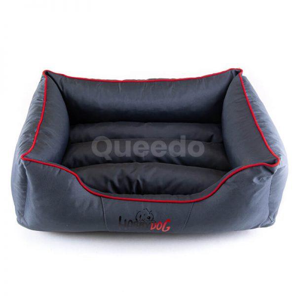 Vkusná šedá posteľ pre psa Comfort červené lemo