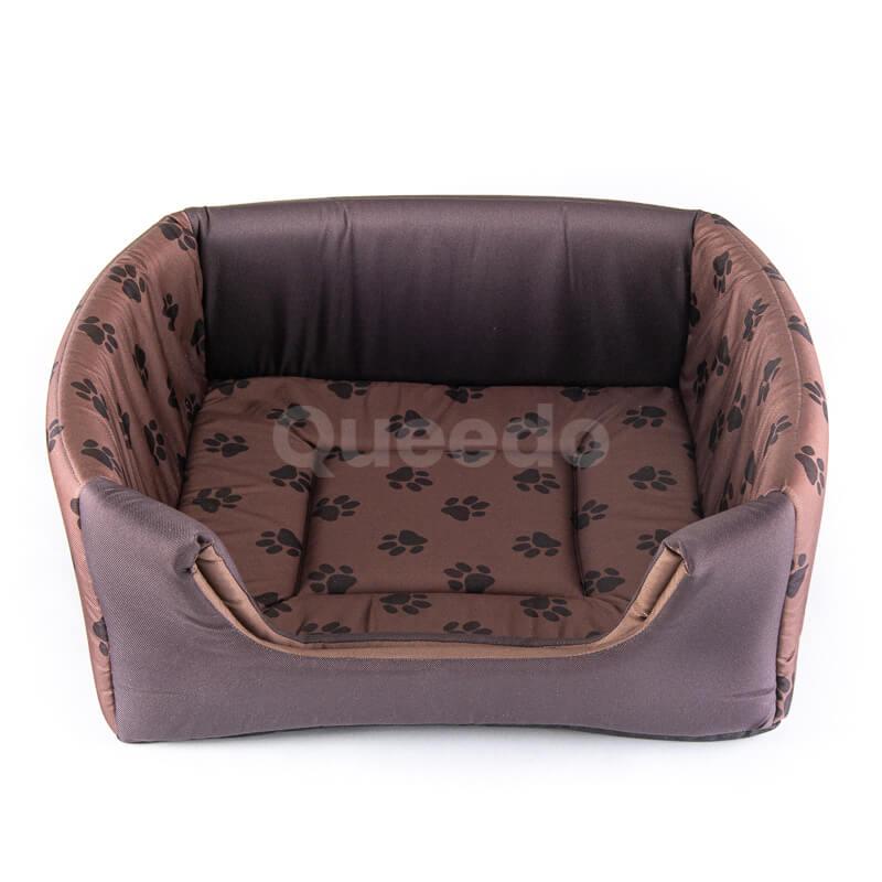 Kvalitný svetlohnedý textilný domček pre psa 2v1 labky