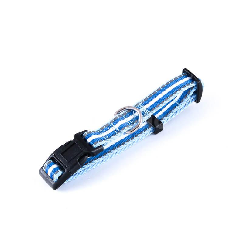 Kvalitný reflexný psí obojok pásik reflex svetlomodrý