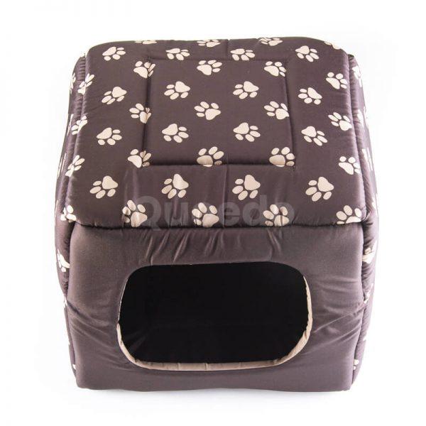 Nádherný textilný dom pre psa 2v1 labky hnedý