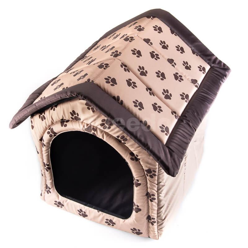 Praktický a elegantný textilný dom pre psa labky béžový