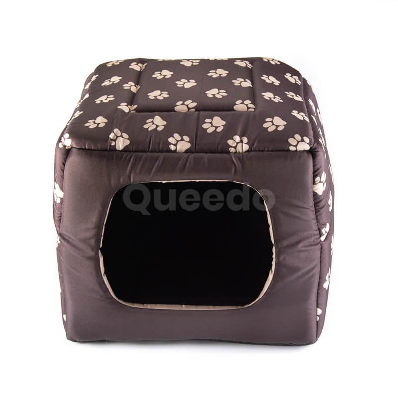 Praktický textilný domček pre psa 2v1 labky hnedý
