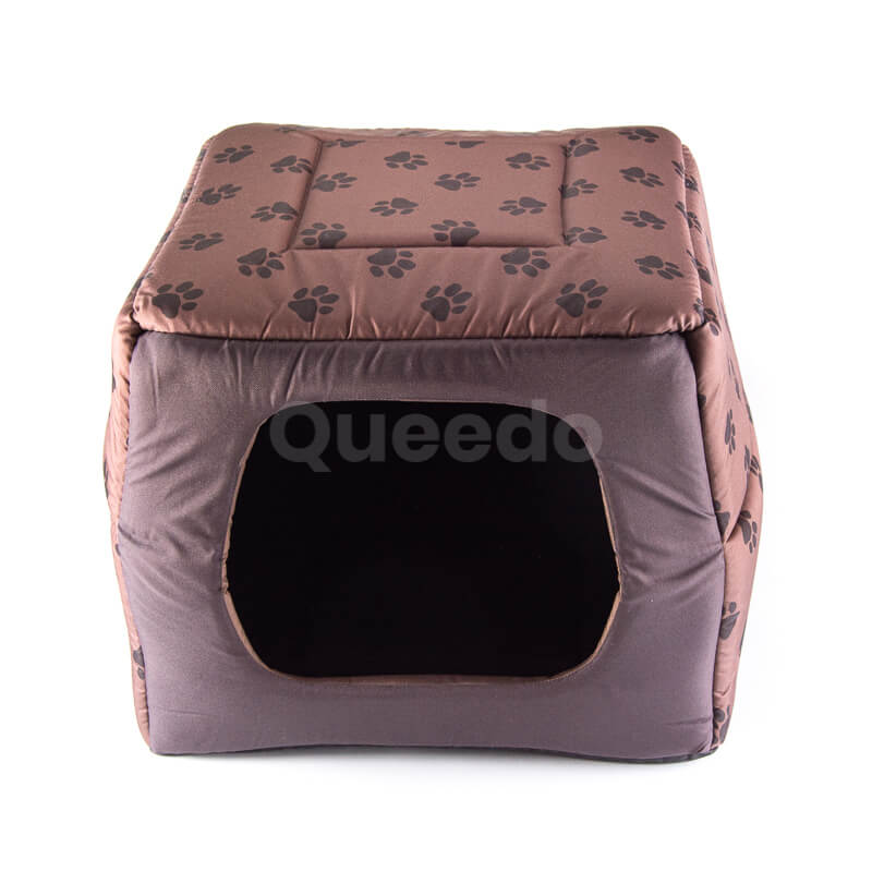 Praktický textilný domček pre psa 2v1 labky svetlohnedý