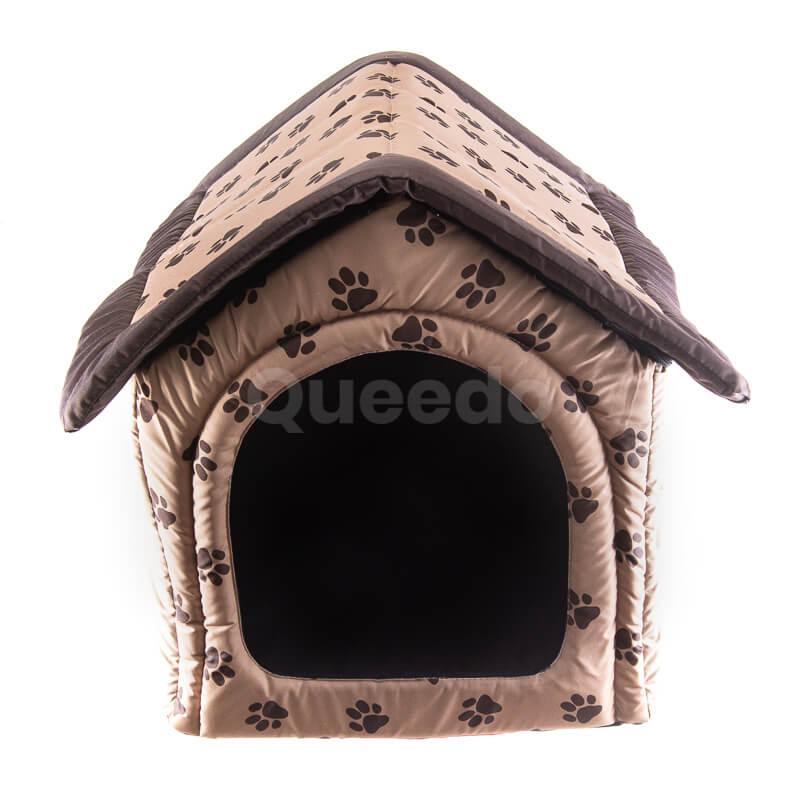 Pohodlný textilný domček pre psa labky béžový