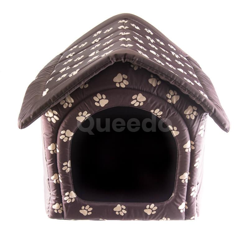 Moderný a praktický textilný domček pre psa labky hnedý