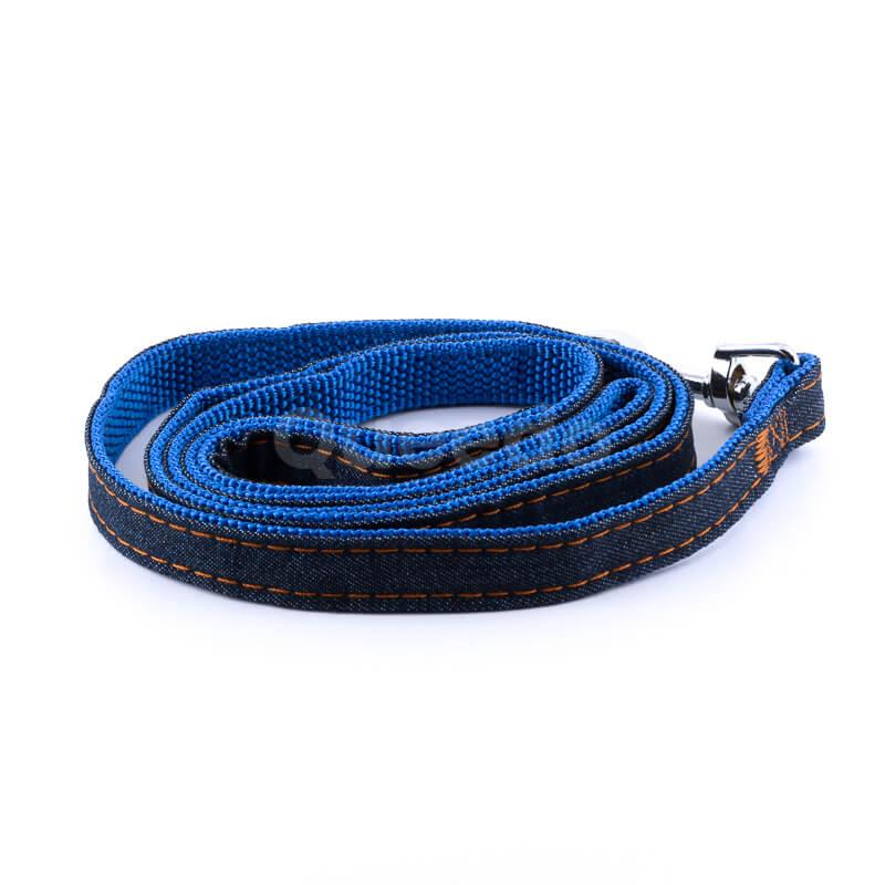 Moderná vôdzka pre psa denim modrá