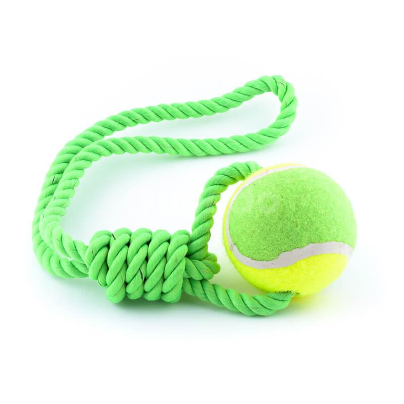 Kvalitná psia hračka lano lopta zelenej farby