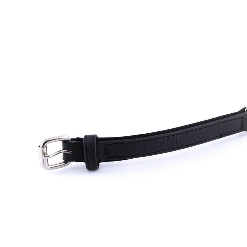 Kvalitný a odolný kožený obojok pre mačky čierny s vráskami