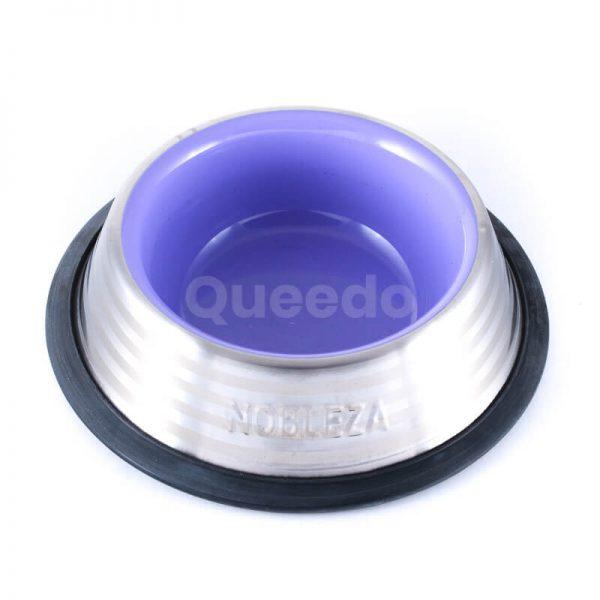 Praktická nerezová miska pre mačku fialovej farby