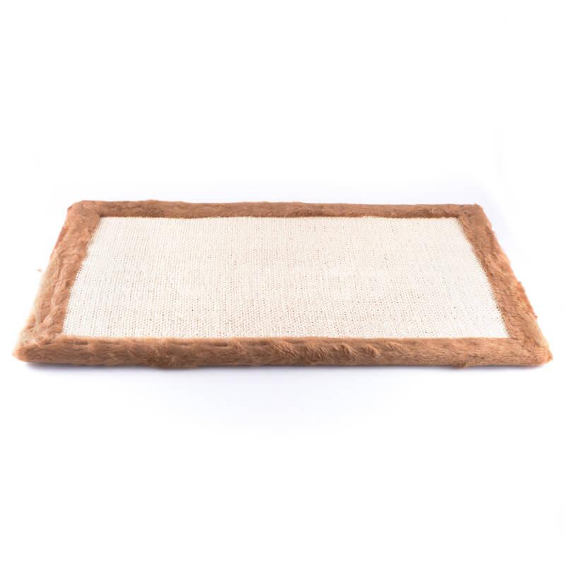 Praktické a odolné škrabadlo na stenu tkanina plyš široké hnedé