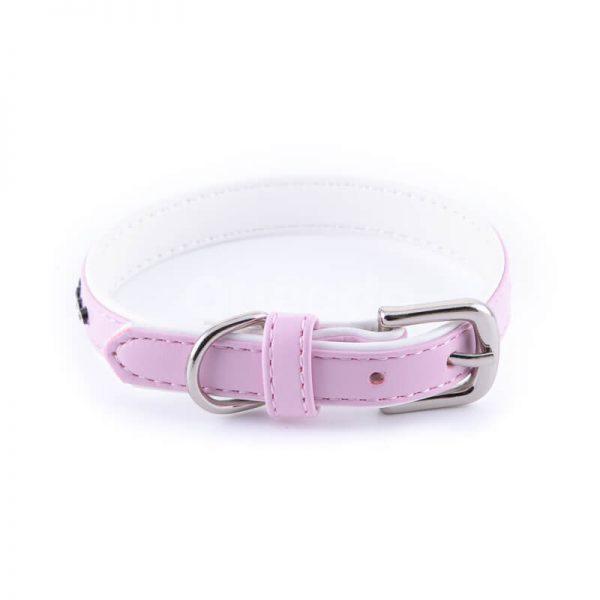 Kvalitný kožený obojok pre mačku menší malé diamanty ružový