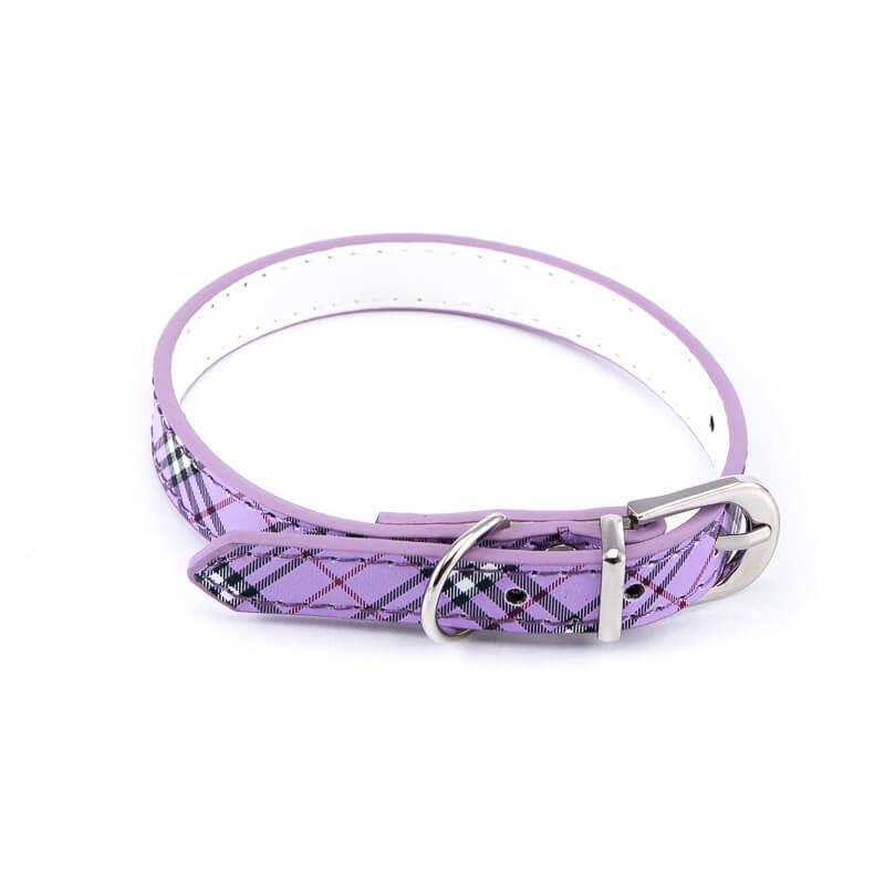 Kvalitný kožený obojok pre mačky vzor fialový