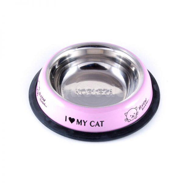 Kvalitná ružová nerezová miska pre mačku s nápismi