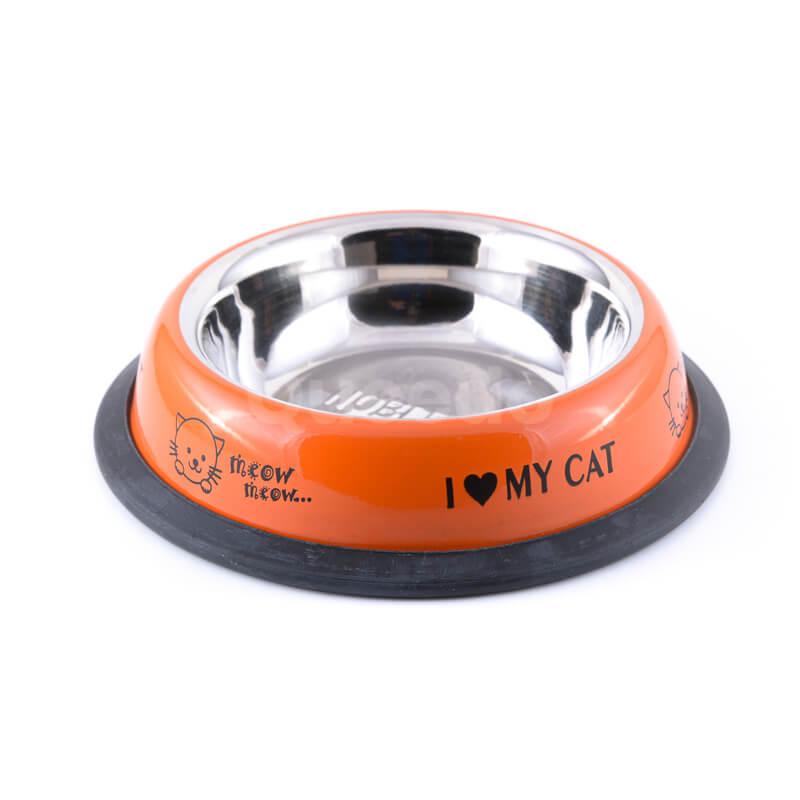 Kvalitná nerezová miska pre mačku oranžová s nápismi