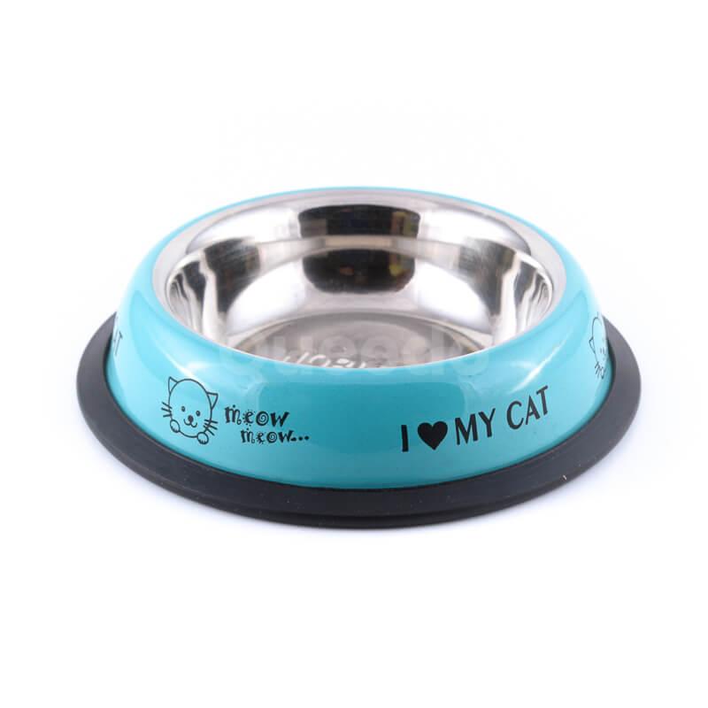 Elegantná tyrkysová nerezová miska pre mačku s nápismi