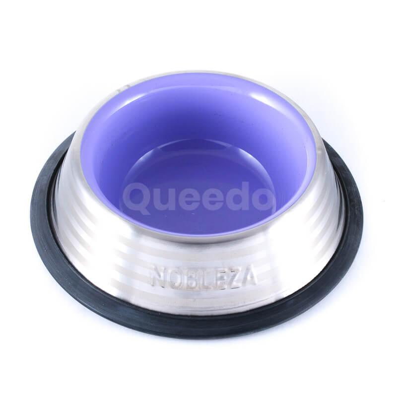 Kvalitná nerezová psia miska fialovej farby