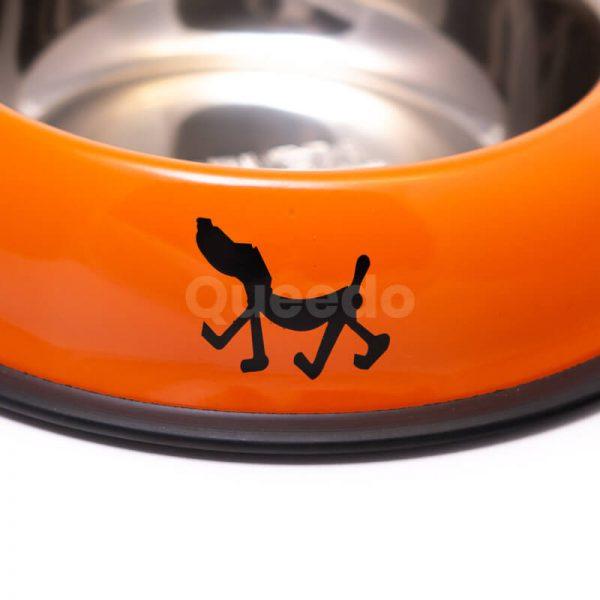 Praktická nerezová psia miska nápisy oranžová