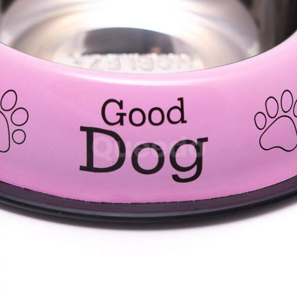 Nádherná nerezová psia miska nápisy ružová