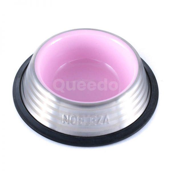 Kvalitná psia miska z nerezu ružovej farby