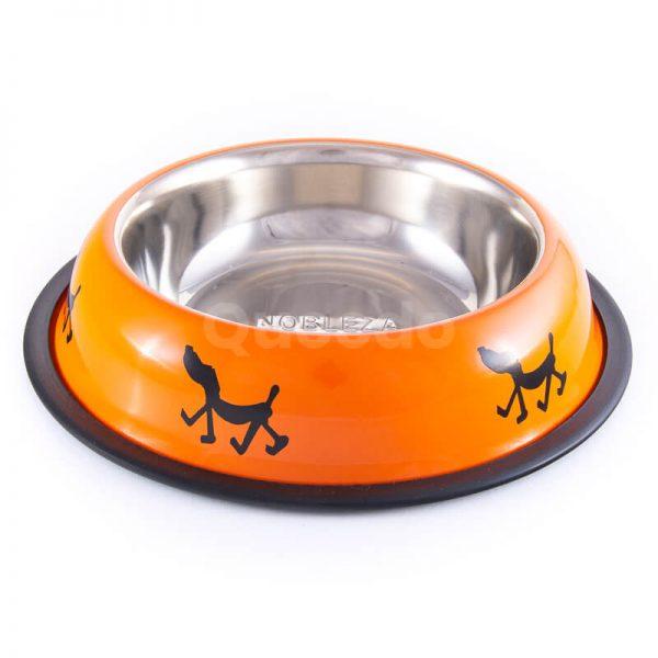 Moderné nerezové misky pre psov nápisy oranžové