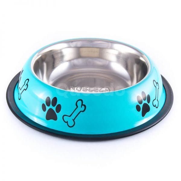 Elegantné nerezové misky pre psov nápisy tyrkysové