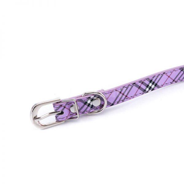 Elegantný obojok pre mačku kožený vzor fialový