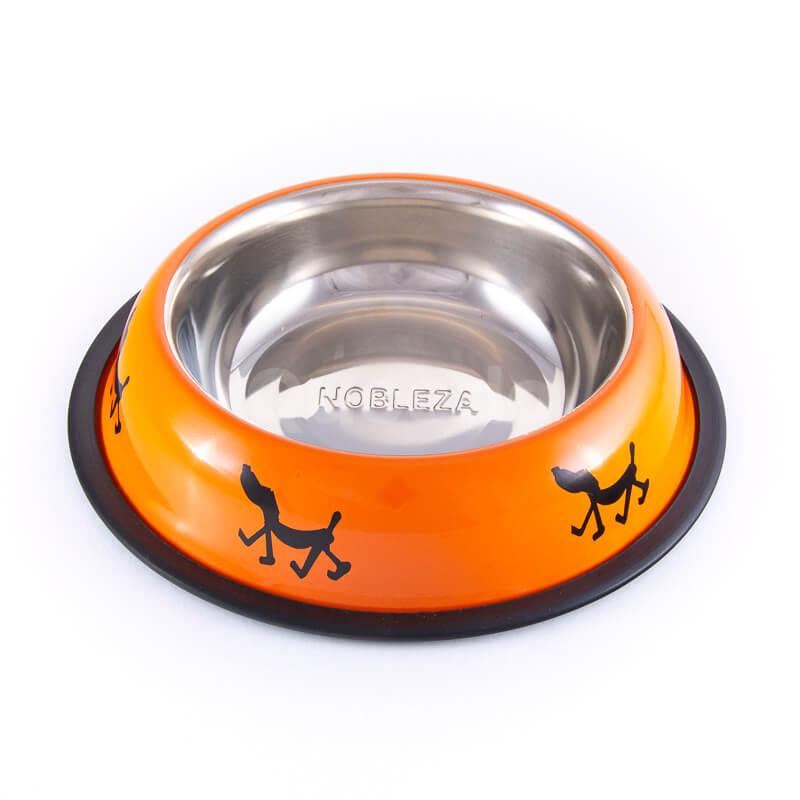Vkusná oranžová nerezová miska pre psa nápisy