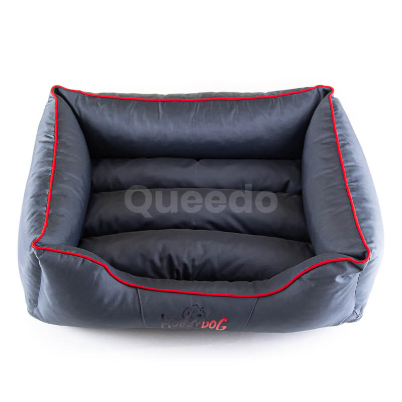 Moderný a vkusný pelech pre mačky Comfort šedý červené lemo