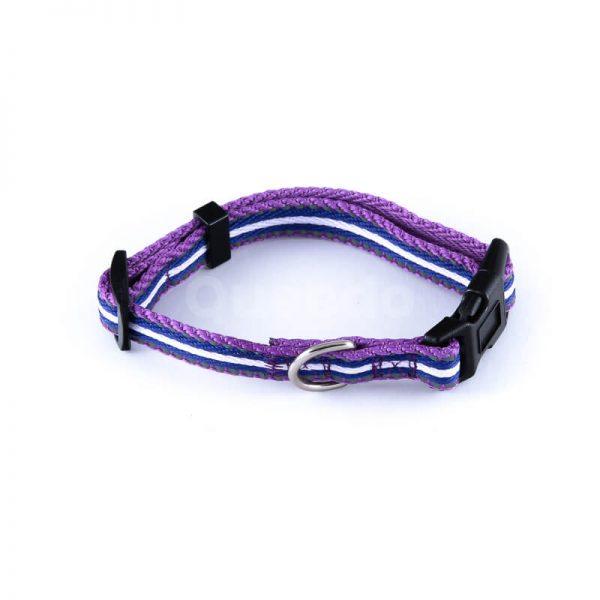 Nádherný reflexný obojok pre mačky pásik reflex fialový