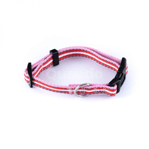 Kvalitný a odolný reflexný obojok pre mačky pásik reflex ružovo červený