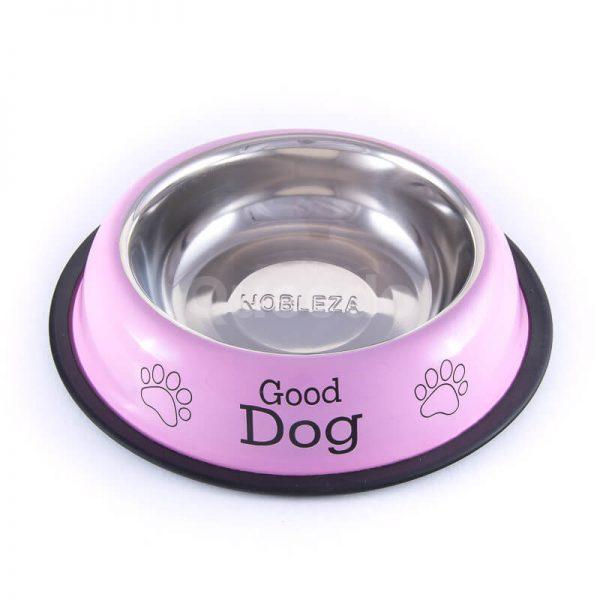 Moderná ružová nerezová miska pre psa nápisy